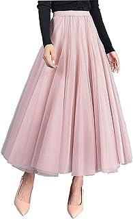 Carolilly Gonna in Tulle Tutu Gonne Vintage da Donna Tutu Balletto sotto Stile Anni '50 Gonna Tulle Donna Lunga Rosa Nero