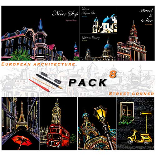 SiYear Scratch Paper Rainbow Painting Sketch, City Series Night Scene, Scratch Painting Creative Gift, Scratchboard for Adult and Kids, with 4 Tools(8PACK)