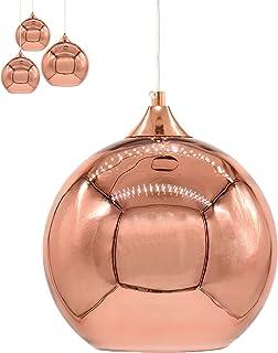 Moderne Cuivre Miroir Lustre Boule en Verre Câble Réglable Luminaire Suspension en Globe Chrome Abat-jour D'éClairage De D...