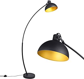 Arc Floor Lamp for Living Room [Archiology] Steel Lamp with Black and Gold Shade, 61