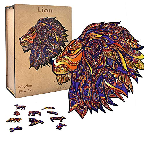 Wooden Jigsaw Puzzles, Wooden Jigsaw Puzzles with Wooden Box for Adults, Colorful Lion King Shape Unique Puzzle for Adults and Kids, Animal Puzzle Best Gift for Family Game Play 7.17.1 inches, 96pcs