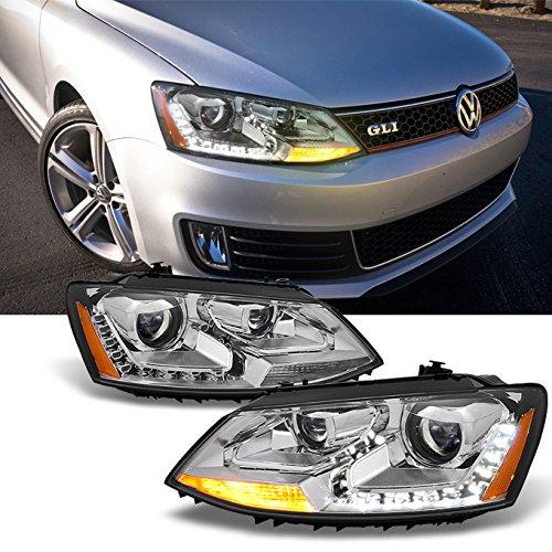 Fit 2011-2017 VW Jetta Mk6 Pair Smoked Housing Clear Corner Headlight//Lamp Set