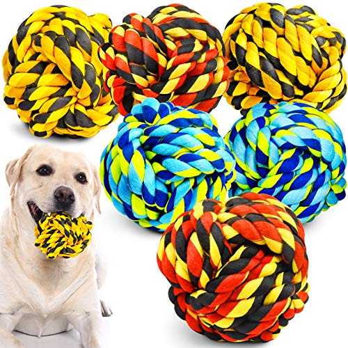 XL Dog Chew Toys for Aggressive Chewers, Dog Balls for Large Dogs, Heavy Duty Dog Toys with Tough Twisted, Dental Cotton Dog Rope Toy for Medium Dogs, 6 Pack Indestructible Puppy Teething Chew Toy