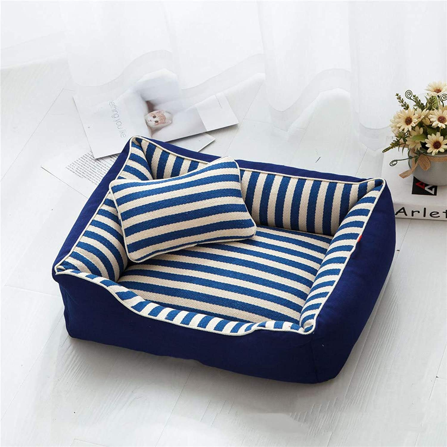 Dog Bed for Pets & Cats,Cat and Dog House Bed,Improved Sleep Warming Cozy Inner Cushion for Home, Crate & Travel,bluee,M