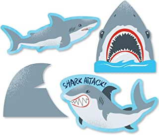 Big Dot of Happiness Shark Zone - DIY Shaped Jawsome Shark Viewing Week Party or Birthday Party Cut-Outs - 24 Count