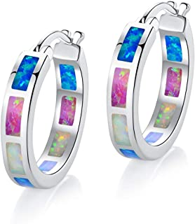 18K White Gold/Rose Gold Plated Colorful Fire Opal & Cubic Zirconia Huggie Hoop Earrings for Women Hypoallergenic