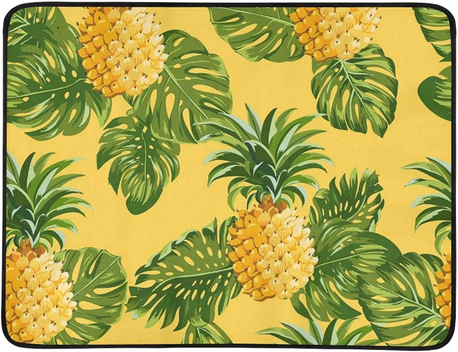 Pineapples Tropical Leaves Vintage Portable and Foldable Blanket Mat 60x78 Inch Handy Mat for Camping Picnic Beach Indoor Outdoor Travel