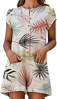 Juesi Women's Playsuits, Casual Short Sleeve Button Down Loose Romper with Pocket Short Jumpsuit