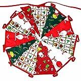 G2PLUS 3.7M Banner de Feliz Navidad,Guirnalda Banderas Banderines de Bandera de Tela, Tela Vintage de Doble Cara, Decoración Elegante Lamentable para Navidad