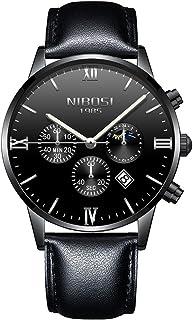 VOEONS Men's Leather Chronograph Quartz Watch - Black