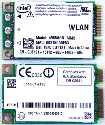 Intel Wireless WiFi Link 4965AGN Mini PCI Express Dell P/N: 0UT121 802.11a/g/n Draft N