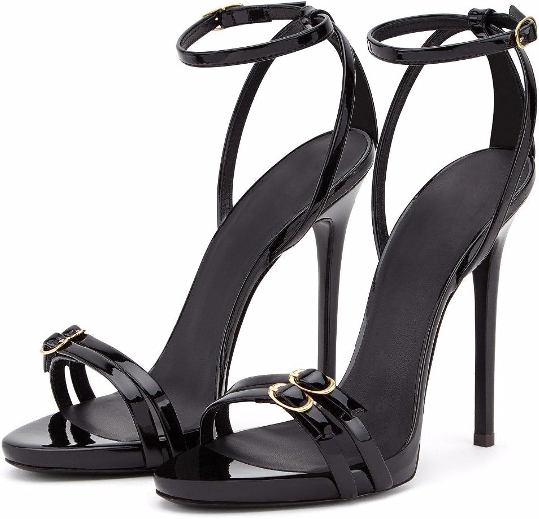 AnMengXinLing Heeled Sandals Women Ankle Straps Platform Open Toe Stilettos Dress Pumps Black Wedding Party Evening Business shoes