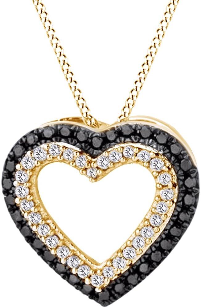 Round Washington Mall Cut White Black Natural Heart Diamond Pendant Charlotte Mall Necklace I
