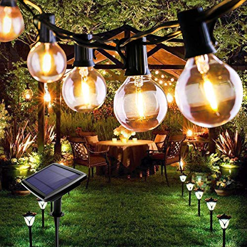 Outdoor String Lights, FOCHEA 25ft 25 LED Solar String Lights Outdoor Garden Globe String Lights Festoon Lighting 4 Modes for Indoor & Outdoor Wedding Backyard Patio Party Decoration