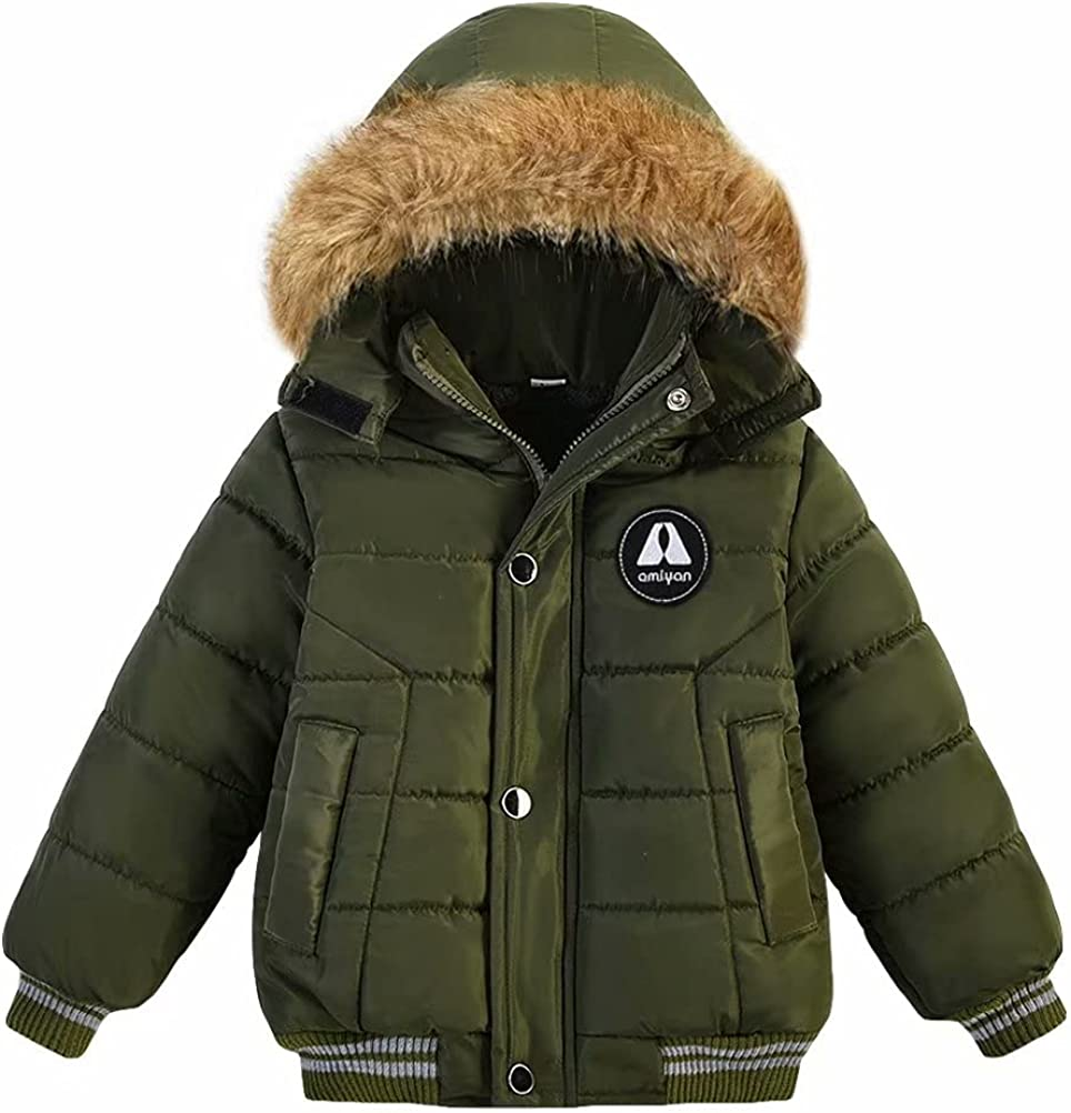 AMIYAN Toddler Boys Girls Down Jacket Hooded Thickened Warm Winter Snowsuit Coat Outerwear