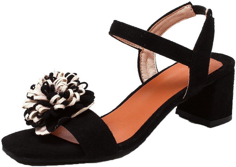 WeiPoot Women's Frosted Elastic Open-Toe Kitten-Heels Solid Sandals, EGHLH005613