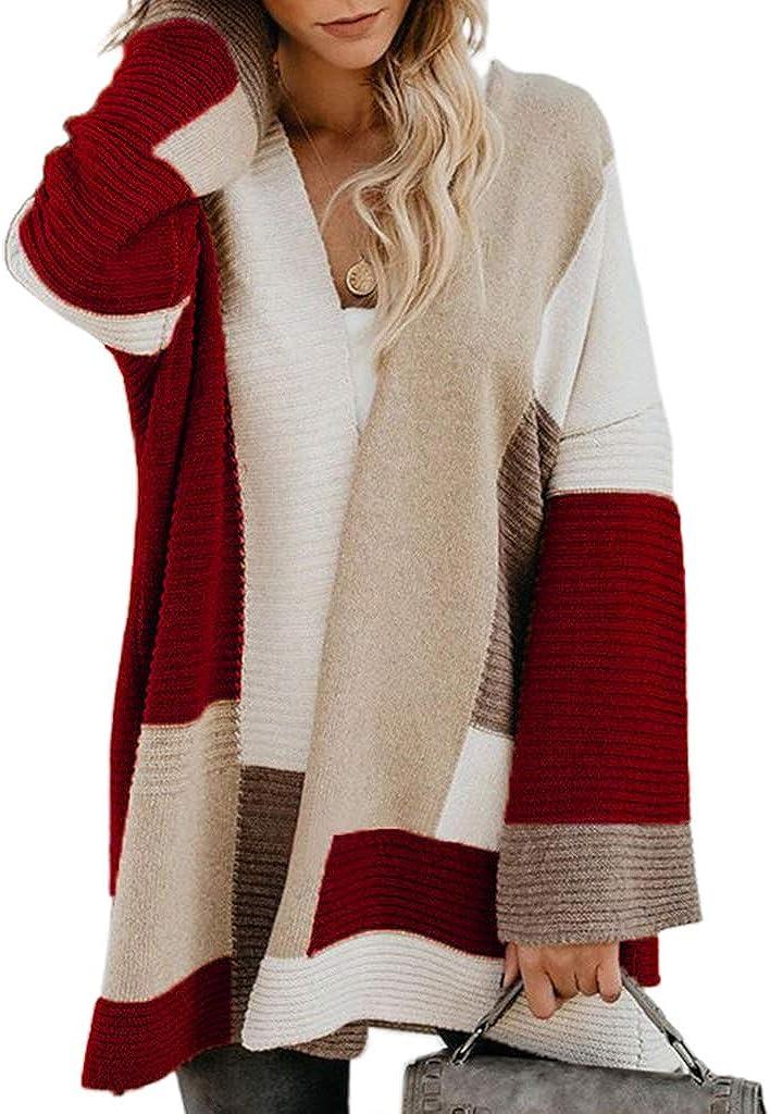 Sixinu Women Long-awaited Plus Size Bell Las Vegas Mall Co Sleeve Cardigan Geometric Sweater