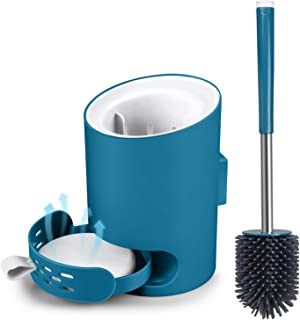 MANGOTIME Toilet Brush and Holder Set Toilet Bowl Brush for Bathroom RV Toilet Under Rim Compact Wall Mounted Toilet Brush with Holder Silicone Brush Absorbent Diatomite Mat Blue