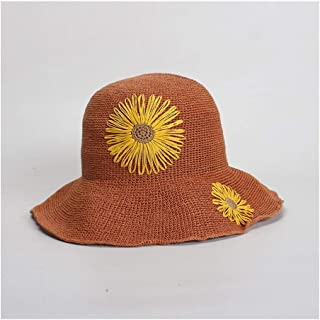SHENTIANWEI Sun Flower Embroidered Folding Hook Straw Hat Lady Summer Sun Hat Beach Holiday Sun Hat (Color : Orange)