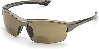 Elvex RX-350BR 2.0 Diopter Bifocal Safety Glasses, Metallic Brown Frame/Brown Lens