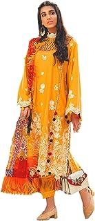 بدلة حريمي صفراء هندية/باكستاني مطرزة من الساتان بدلة مطبوعة رقمية بنمط الحجاب المسلمين 5996