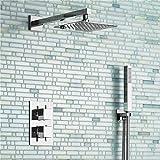 Placcatura retro rubinetto quadrato 20,3cm ultra sottile miscelatore termostatico set doccia con valvola bagno cromato Doccino | Ebay, bianco