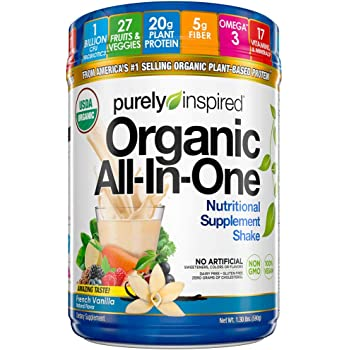 Vegan Protein Powder Meal Replacement Shake | Purely Inspired Organic All In One | Plant Based Protein Powder for Women & Men , French Vanilla, 1.3 lb (16 Servings)(package may vary)