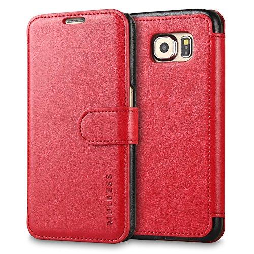 Mulbess Handyhülle für Samsung Galaxy S3 Mini Hülle Leder, Samsung Galaxy S3 Mini Handy Hüllen, Layered Flip Handytasche Schutzhülle für Samsung Galaxy S3 Mini Case, Wein Rot