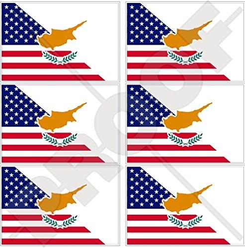 Lot de 6 mini autocollants en vinyle pour téléphone portable Motif drapeau américain et chypriote américain 40 mm