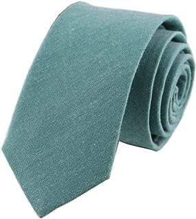 Men's Skinny Tie Causal Cotton Solid Color Linen Narrow Slim cut Necktie