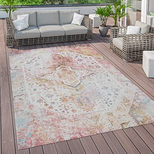 Paco Home Outdoor Teppich Terrasse Balkon Küchenteppich Vintage Orient Muster Rosa Gelb, Grösse:160x220 cm