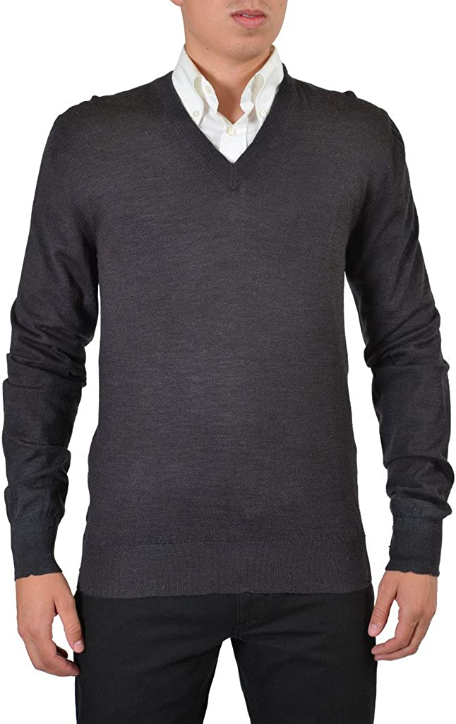 Dolce & Gabbana 100% Wool Gray Knitted V-Neck Pullover Sweater