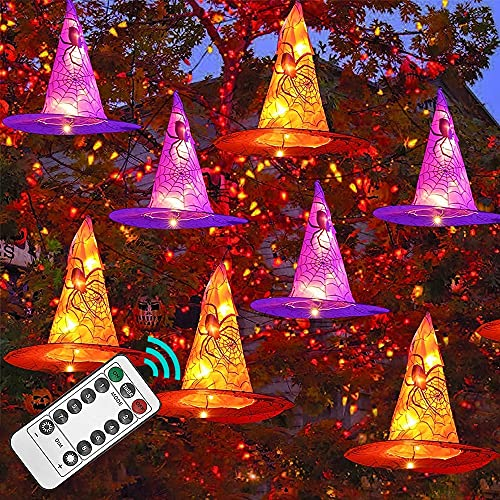 Funpeny Halloween Decoration Lights, 8 PCS Waterproof Hanging Witch Hat with String Lights with...