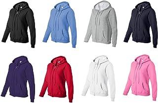 Gildan. Zip Up Hoodie Blank Plain Hooded Sweat Sweatshirt Sweater Female Ladies Women