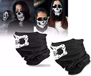 WOO LANDO 2 Stück (1 Paar) Sport Masken Skelett Gesichtsmaske Kopftuch Stirnband Fahrrad Motorrad Ski Kopfhaube Balaclava Schlitz schwarz Skull Totenkopf Maske Totenkopf Skull Face (Weiß)