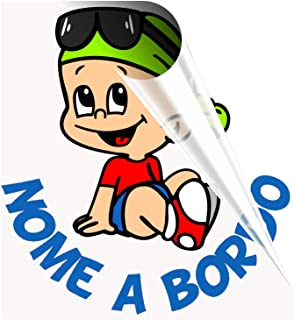 STICKEREDO Bimbo a bordo adesivo auto personalizzato con nome bimbo o bimba. Baby on board. bebè a bordo. Applicazione est...