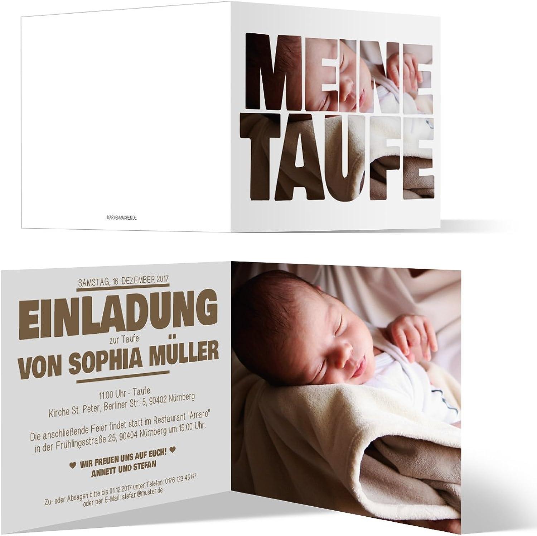 Taufe Einladungskarten (100 Stück) - Fotoschrift - Taufeinladung Klappkarte Bild Text B06XRG9LZZ    Deutschland Online Shop
