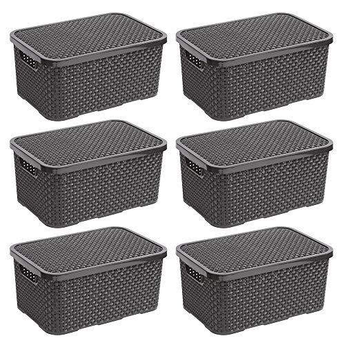 BranQ - Home essential - Set di 6 cestini in Rattan, in plastica PP, 28,8 x 19,7 x 16,2 cm, Colore: Antracite