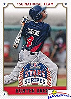 Hunter Greene 2015 Panini USA Baseball Stars and Stripes #43 ROOKIE Card in MINT Condition in Ultra Pro Top Loader! Expected #1 Pick in 2017 MLB Draft! 102 MLB Fastball and Home Run Slugger! Wowzzer!