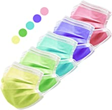 HIWUP Face Masks, 3 Layer with Nose Clip and Ear Loops Multicolored 50 Masks (5 Color)