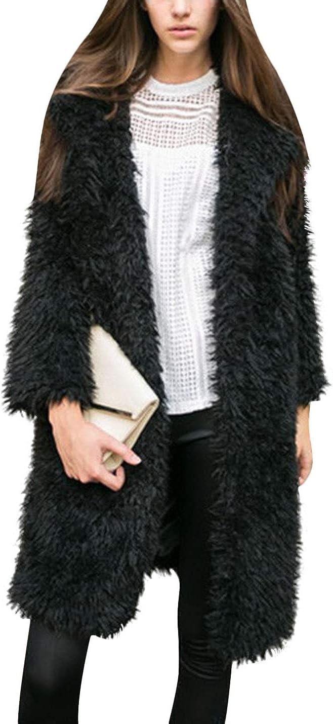 Uaneo Women's Fuzzy Lapel Open Front Long Coat Faux Fur Warm Cardigan Jacket (Black, Medium)