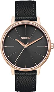 NIXON Kensington Leather A108 - Rose Gold/Black - 50m Water Resistant Women's Analog Classic Watch (37mm Watch Face, 16mm Leather Band)