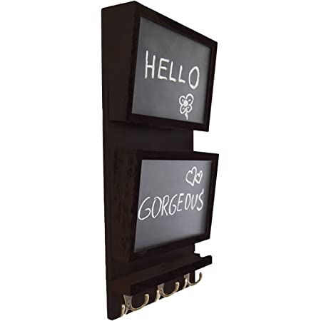 Wall D/écor for Entryway Made of Paulownia Wood Dark Brown Wooden Wall Mount Mail Holder Organizer Comfify Rustic 2-Slot Mail Sorter Organizer for Wall with Chalkboard Surface /& 3 Double Key Hooks
