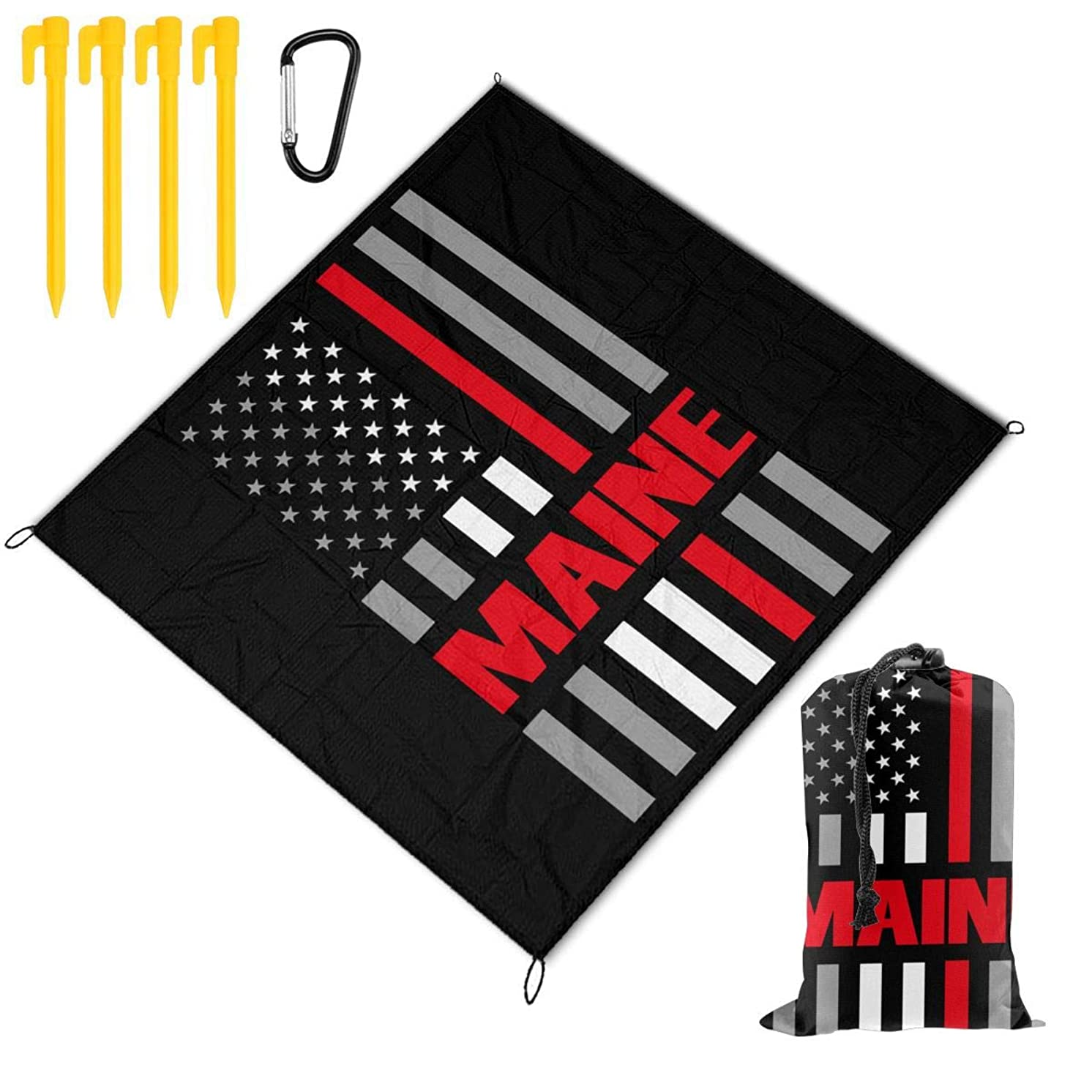 XL-HUALA Maine USA Thin Red Line Flag Picnic Blanket Outdoor Beach Blanket 57??x59?? - Waterproof Lightweight Used for Indoor and Outdoor Activities, Festival Events, Hiking, Camping, Traveling.