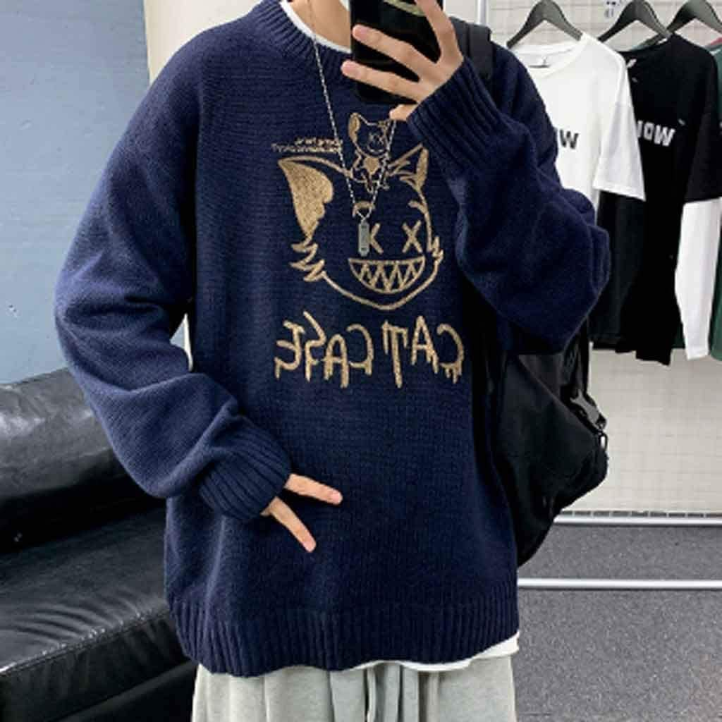 ZYING 2020 Winter New Couple Sweaters Casual Oversize Men's Pullovers Korean Streetwear Graphic Printed Male Sweater (Color : A, Size : XXL Code)