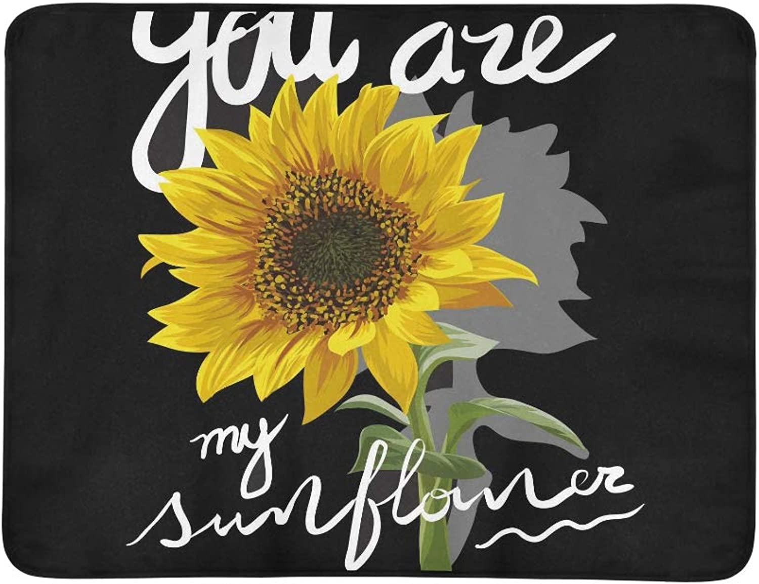 You are My Sunflower Slogan Graphic Vector Pattern Portable and Foldable Blanket Mat 60x78 Inch Handy Mat for Camping Picnic Beach Indoor Outdoor Travel