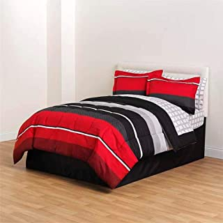 8 Piece Red Black Comforter Sheet Pillow Soft Full Size Bedding Woven Bed Set