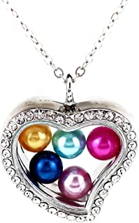 2X/lot Magnetic Glass Rhinestone Heart Necklace Floating Charms Locket Pendant Memory Photo Lockets Necklace for 8mm Beads Pearl Stainless Steel Chains