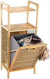 Blanchisserie panier d'inclinaison de blanchisserie Bamboo FreeStanding Vêtements Panier avec étagère & Doublure amovible,...