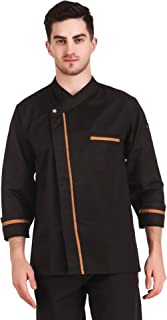 Kodenipr Club Royal Series Black Chef Coat Mustard Lining Contrast, Poly/Cotton,Size (L-40)